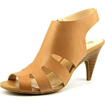INC International Concepts Womens GIANNAH Open Toe Casual Leather Ankle Strap Sandals Tan Size 10