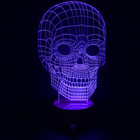 Free Shipping 1Piece Creative Wood Skull Mood Lamp Bulbing Light Micro USB Table Lamp