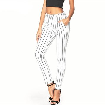 Vertical Striped Skinny Elastic Waist Pants