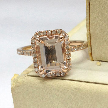 Morganite Engagement Ring 14K Rose Gold!Diamond Wedding Bridal Ring,Claw Prongs,7x9mm Emerald Cut Pink Morganite,Halo,Can make matching band