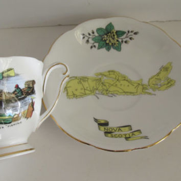 NovaLobster Fishing Scotia Souvenir Teacup and Saucer Collectible English Teacup Fine Bone China Queen Anne China