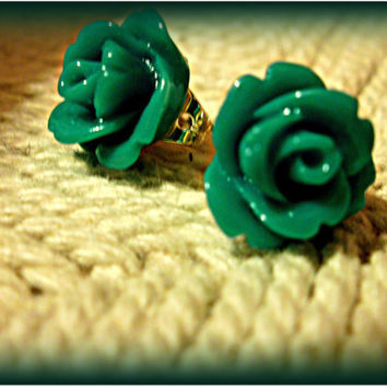 Teal colored rose cabochon earrings