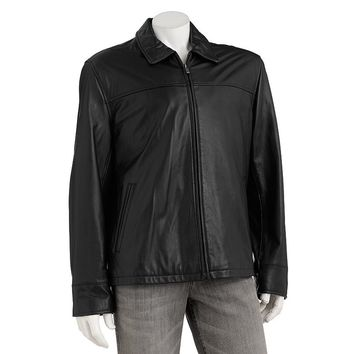 Chaps Leather Open-Bottom Jacket