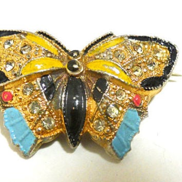 antique Victorian Gold Enameled Butterfly Sachet Pin or Brooch late 1800s