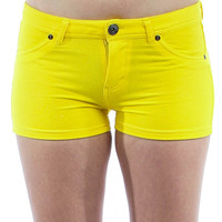 YELLOW MOLETON SHORTS WITH FAUX FRONT POCKETS Summer Women's Shorts Pants One Pieces Bottom