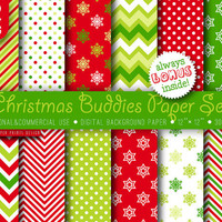 1 USD only 24 HRS, 12 Christmas Buddies Paper Digital, red white green paper, 12 x 12,  digital paper, invitations, cards paper, party paper