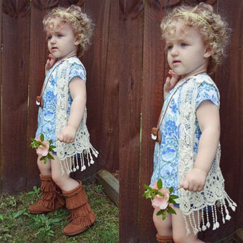 Retro Style Children Summer Fringe Cardigan Toddler Girls Lace Hollow Out Outerwear Kids Beige Tassel Vest Baby Crochet Outfit
