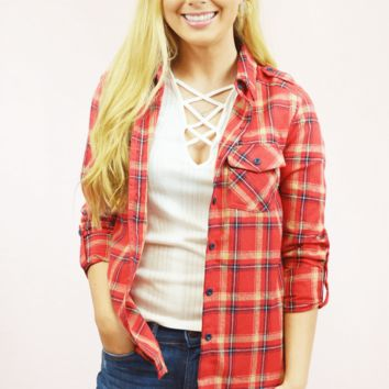 classic roll sleeve flannel - red