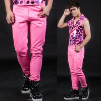 Stage personality men pants pink pant men casual trousers singer dance rock fashion pantalon homme street star style novelty