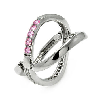 925 Sterling Silver Ladies Jewelry Movable Band Pink And Clear Cubic Zirconia Stones Ring Width:8mm: Size: 5