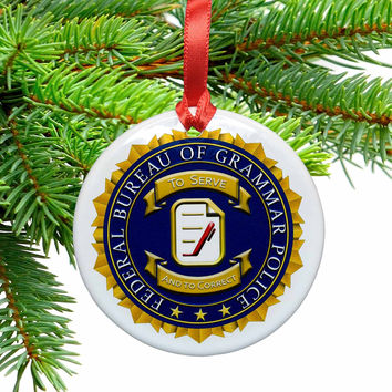 Grammar Police Badge Ceramic Christmas Ornament