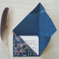 Creative Blank Note Card Set - Blue and Pink Handmade Paper Self Contained Envelopes