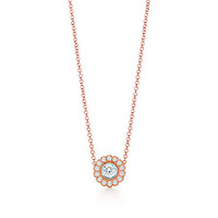 Tiffany & Co. - Tiffany Enchant® flower pendant in platinum and 18k rose gold with diamonds.
