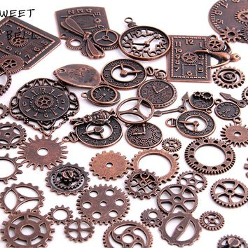 40pc/lot Diy Vintage Charms Metal Zinc Alloy Gear Pendant Charms Mixed Steampunk Clock Gear Charms for Jewelry Making H3013