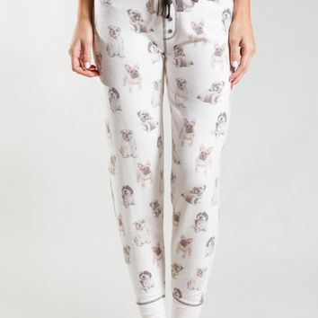 PJ Salvage Dog-Print Jersey Jogger Sleep Pants