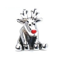 BELLA FASCINI® Rudolph Red Nose Reindeer Christmas Bead Charm 925 Sterling Silver Fits Pandora & More