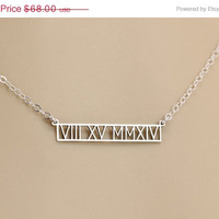 CUT OUT Roman Numeral Gold Bar Necklace, Kim Kardashian, Celebrity Custom Personalized Jewelry, Engravable Personal Gift, Bridesmaids