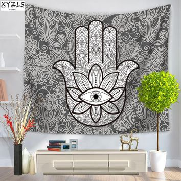 XYZLS 150*200cm Wall Tapestry Polyester Indian Tapestry Art Abstract Buddha Palm Tapestry Creative Beach Towel Yoga Mat
