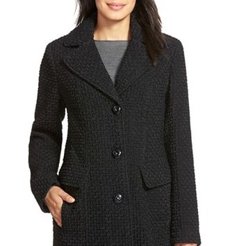 Women's Gallery Wool Blend Basket Weave Notch Collar Coat,