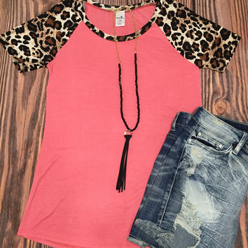 Coral and Leopard Top