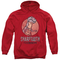 LAND BEFORE TIME/SHARPTOOTH-ADULT PULL-OVER HOODIE-RED