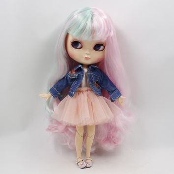 Trendy Fortune Days ICY Doll 1/6 Clothes Cute yarn skirt denim jacket two colors wild for Neo blyth icy doll 30cm toys AT_94_13