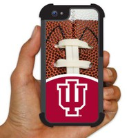 Indiana University - iPhone 5 BruteBoxTM Case - IU Logo and Football Design - 2 Part Rubber and Plastic Protective Case