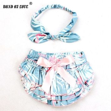 Baby Girl Ruffle Bloomers Diaper Cover And Headband Set Toddler Cotton Flame Bird Pattern Bowknot Tutu Shorts 3 Colors YC031
