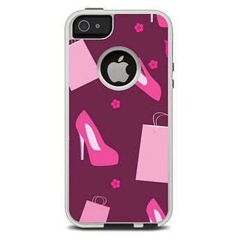 The Pink High Heel Shopping Pattern Skin For The iPhone 5-5s Otterbox Commuter Case
