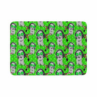 "Shirlei Patricia Muniz ""Good Vibes"" Green Vintage Memory Foam Bath Mat"
