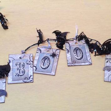 Halloween Decoration Banner Boo recycled upcycled laminate samples