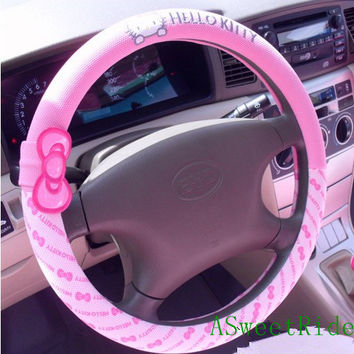 Cute Pink Hello Kitty Bow Tie Vehicle Steering Wheel Cover