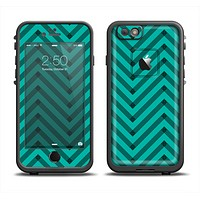 The Teal & Black Sketch Chevron Apple iPhone 6 LifeProof Fre Case Skin Set