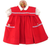 Vintage Baby Dress Red Cotton with Bib and Red, White, Blue Stars Valentine