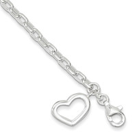 Heart Bracelet in Sterling Silver - Unisex Adult - Lobster Claw - Appealing: Size: 7