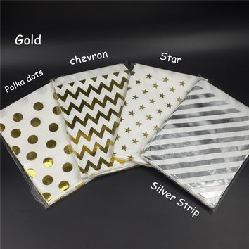 Gold Foil Favor Bags Polka Dots/Gold Candy Bags/Wedding Favors/Goody Bags/Printed Paper Treat Bags/Birthday Party Sacks