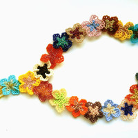 Short beaded necklace Summer blossoms - bright and colourful seed bead jewelry - flower wreath for dress - handmade beadwork - multicolored