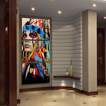 Awesome American Indian Wall Art Painting 3 Pieces