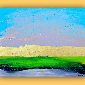 Original Painting - Gold Wall Art - Abstract landscape Painting on canvas - Gold Art - 16x20