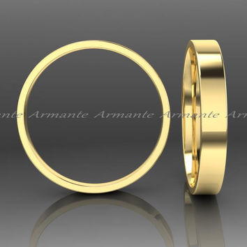 3.00mm Wide Gold Wedding Band, Hand Made 14k Yellow Solid Gold Band, Square Design