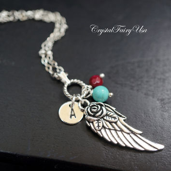 Angel Wing Necklace  Hand Stamped Initial Necklace  Turquoise Necklace  Ruby Birthstone Necklace   Personalized Necklace Gift For Her