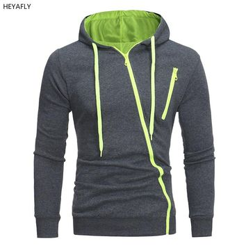 Men's outdoor sports jacket hooded cardigan sweater slim oblique zipper overcoat loose coat outer garment outer wear