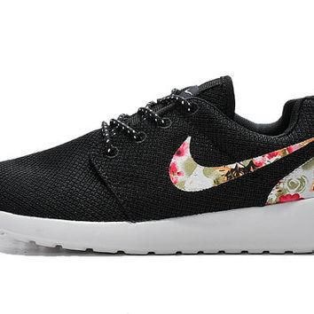 custom nike roshe run sneakers athletic sport womens shoes black color with fabric flo