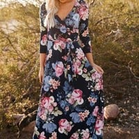 """Charlie"" Floral Wrap Maxi Dress"
