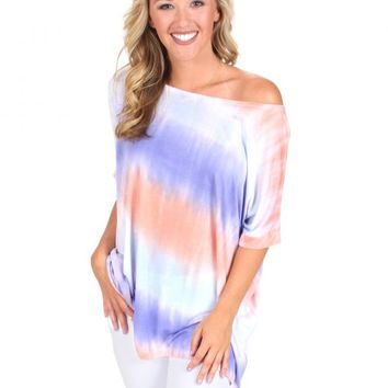 PIKO Something About You Lavender And Peach Tie Dye Short Sleeve Tunic   Monday Dress Boutique
