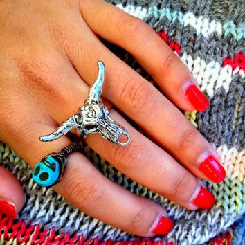 THE COWGIRL RING - Bull Head-Longhorn-Cow Skull Ring