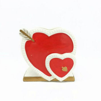 Vintage Double Hearts and Arrow Planter, Red, White, Gold, Vanity, Brush Holder, Kitsch, Love, Valentine, Vase, Pencil Holder, Heart Shaped