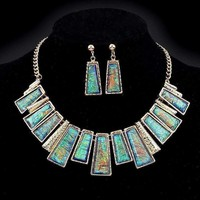 ON SALE - Aztec Empire Collar Necklace and Earrings Set