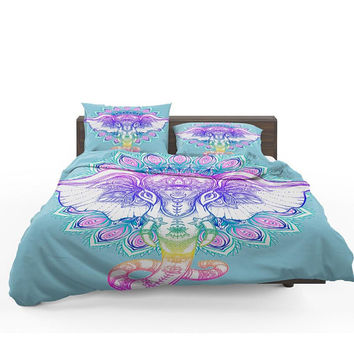 Elephant Mandala Comforter ,  Bedding ,  Duvet Cover,  Twin  Full, Queen, King, Rug, Throw Pilllow Options Boho Pastel