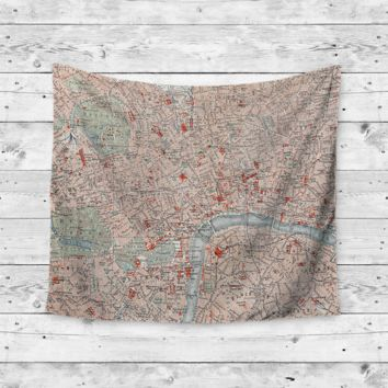 """London Town"" Map Wall Tapestry"
